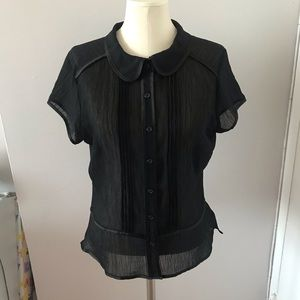 New H&M Sheer Black Button Down Blouse Size 10
